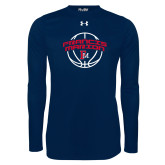 Under Armour Navy Long Sleeve Tech Tee-Basketball Arched FM