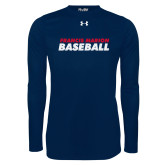 Under Armour Navy Long Sleeve Tech Tee-Baseball Stacked