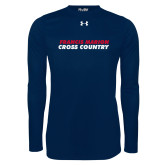 Under Armour Navy Long Sleeve Tech Tee-Cross Country Stacked