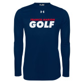 Under Armour Navy Long Sleeve Tech Tee-Golf Stacked