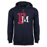 Navy Fleece Full Zip Hoodie-Interlocking FM