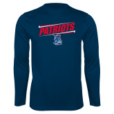 Performance Navy Longsleeve Shirt-Patriots Slant