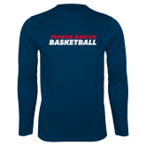 Syntrel Performance Navy Longsleeve Shirt-Basketball Stacked