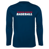 Performance Navy Longsleeve Shirt-Baseball Stacked