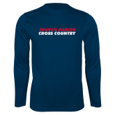Performance Navy Longsleeve Shirt-Cross Country Stacked