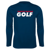 Performance Navy Longsleeve Shirt-Golf Stacked