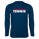 Performance Navy Longsleeve Shirt-Tennis Stacked