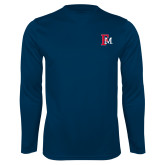 Performance Navy Longsleeve Shirt-Interlocking FM