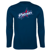 Performance Navy Longsleeve Shirt-Patriots Star