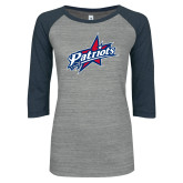 ENZA Ladies Athletic Heather/Navy Vintage Triblend Baseball Tee-Patriots Star