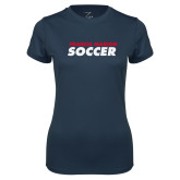 Ladies Syntrel Performance Navy Tee-Soccer Stacked