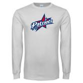 White Long Sleeve T Shirt-Patriots Star