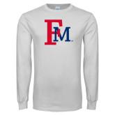 White Long Sleeve T Shirt-Interlocking FM