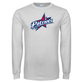 White Long Sleeve T Shirt-Patriots Star Distressed