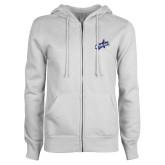 ENZA Ladies White Fleece Full Zip Hoodie-Patriots Star