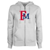 ENZA Ladies White Fleece Full Zip Hoodie-Interlocking FM