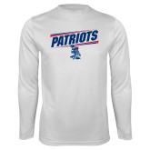 Performance White Longsleeve Shirt-Patriots Slant