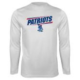 Syntrel Performance White Longsleeve Shirt-Patriots Slant