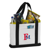 Contender White/Black Canvas Tote-Interlocking FM