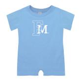 Light Blue Infant Romper-Interlocking FM