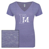 ENZA Ladies Surfer Blue Melange V Neck Tee-Interlocking FM