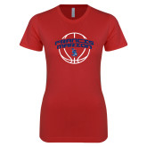 Next Level Ladies SoftStyle Junior Fitted Red Tee-Basketball Arched