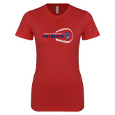 Next Level Ladies SoftStyle Junior Fitted Red Tee-Baseball on Right