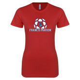Next Level Ladies SoftStyle Junior Fitted Red Tee-Soccer Geometric Ball