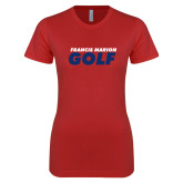 Next Level Ladies SoftStyle Junior Fitted Red Tee-Golf Stacked