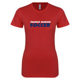Next Level Ladies SoftStyle Junior Fitted Red Tee-Soccer Stacked