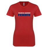 Next Level Ladies SoftStyle Junior Fitted Red Tee-Tennis Stacked