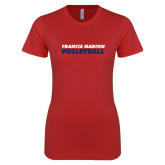 Next Level Ladies SoftStyle Junior Fitted Red Tee-Volleyball Stacked