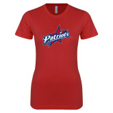 Next Level Ladies SoftStyle Junior Fitted Red Tee-Patriots Star