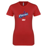 Next Level Ladies SoftStyle Junior Fitted Red Tee-Golf