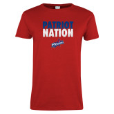 Ladies Red T Shirt-Patriot Nation