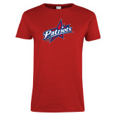 Ladies Red T Shirt-Patriots Star Distressed