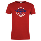 Ladies Red T Shirt-Basketball Arched