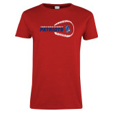 Ladies Red T Shirt-Baseball on Right