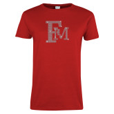 Ladies Red T Shirt-Interlocking FM Rhinestones