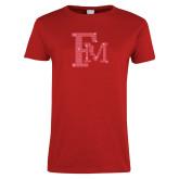 Ladies Red T Shirt-Interlocking FM Rhinestones