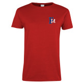 Ladies Red T Shirt-Interlocking FM