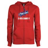 ENZA Ladies Red Fleece Full Zip Hoodie-Cross Country
