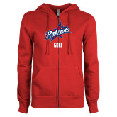 ENZA Ladies Red Fleece Full Zip Hoodie-Golf