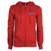 ENZA Ladies Red Fleece Full Zip Hoodie-Patriots Star
