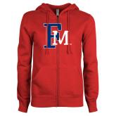 ENZA Ladies Red Fleece Full Zip Hoodie-Interlocking FM