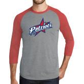 Grey/Red Heather Tri Blend Baseball Raglan-Patriots Star