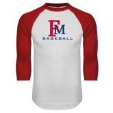White/Red Raglan Baseball T-Shirt-FM Baseball