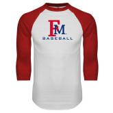 White/Red Raglan Baseball T-Shirt-FM Baseball