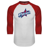 White/Red Raglan Baseball T-Shirt-Patriots Star