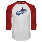 White/Red Raglan Baseball T-Shirt-Patriots Star